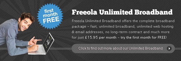 Freeola Broadband - Try for just 9.98!