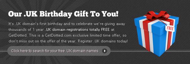 .UK Birthday Celebration - Register .UK domains for Free!