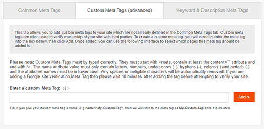 Custom Meta Tags
