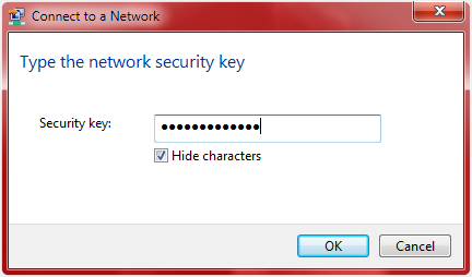 Type in network security key