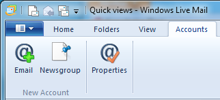 Windows Live Mail Accounts Tab