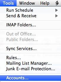 Mac Outlook Tools Menu