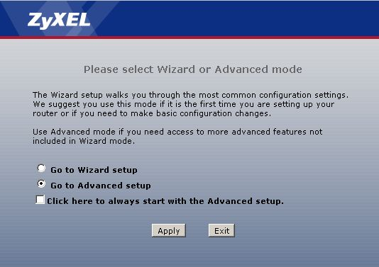 Zyxel Advanced Wizard