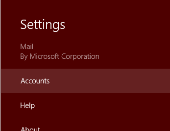 Windows 8 Mail Settings Panel