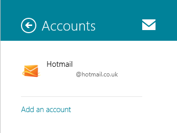 Windows 8 Mail Accounts Panel