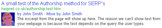 Authorship snippet
