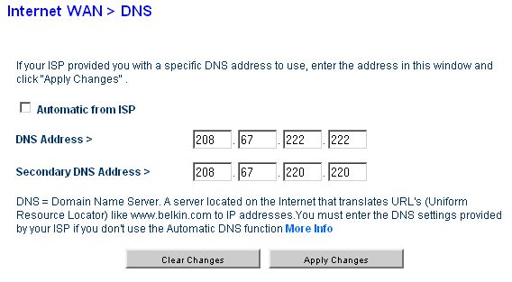 Freeola Help & Support, Changing your DNS server settings within a