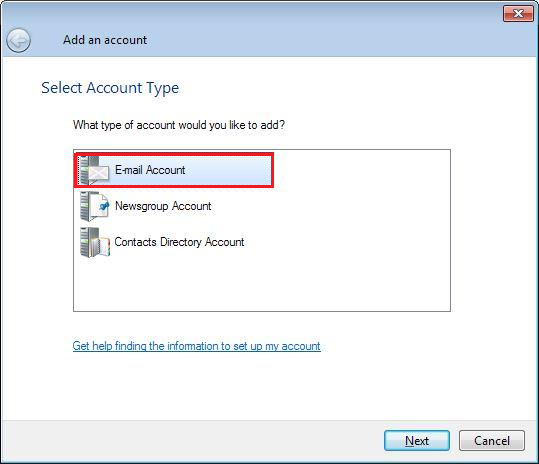 Windows Live Mail Account Type