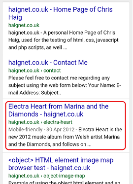 The mobile friendly tag in Google mobile results