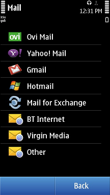 Nokia N8 Mail Providers