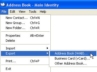 Address Book Export in Outlook Express