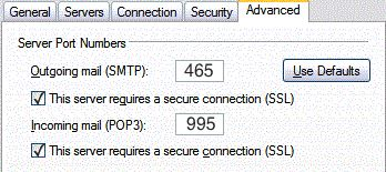 SSL Settings in Outlook Express