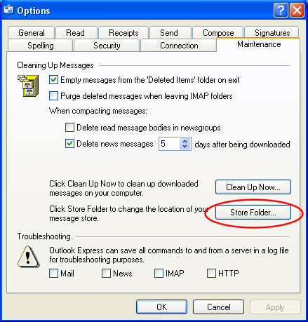 Store Folder option in Outlook Express