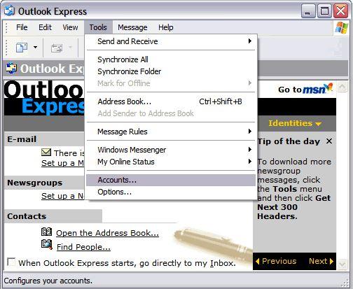 Outlook Express Tool Menu