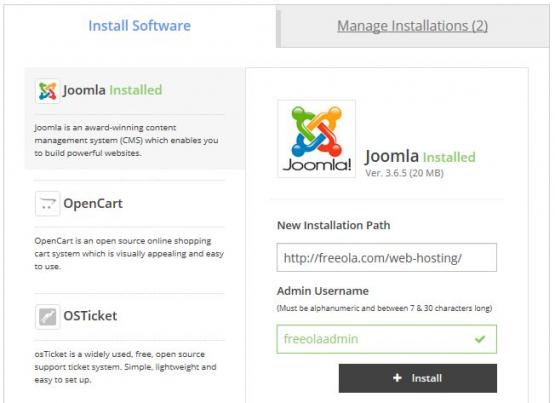 One Click Install Joomla