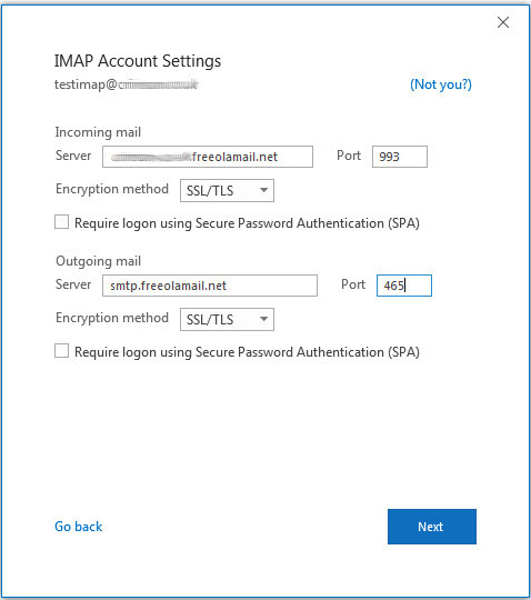 Outlook 2016 IMAP Account Settings