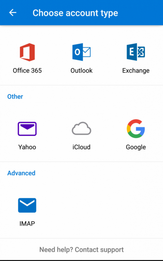 Outlook Mobile Account Type