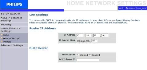 Philips LAN Settings
