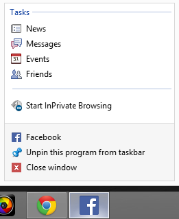 Screen Shot of Facebook Tasks in a Windows 8 Jump List