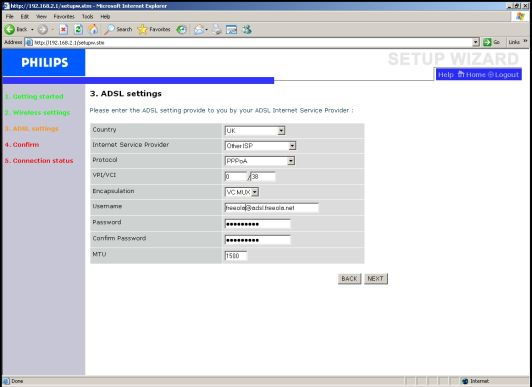 Philips ADSL Settings