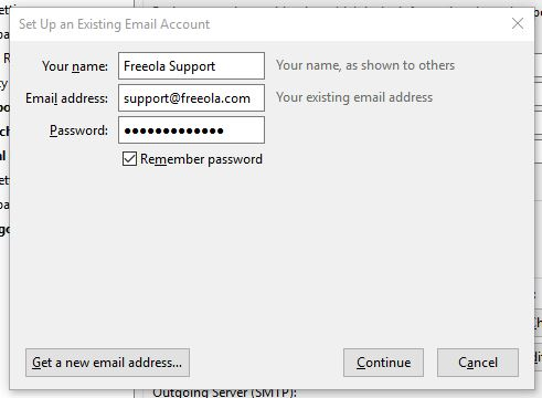 Entering email settings on Thunderbird 60