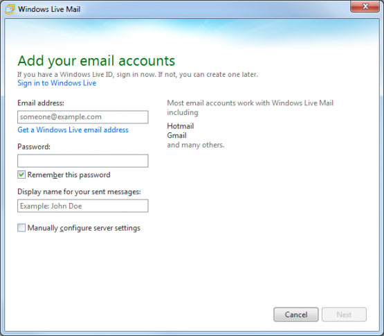Windows Live Mail Add Email Account