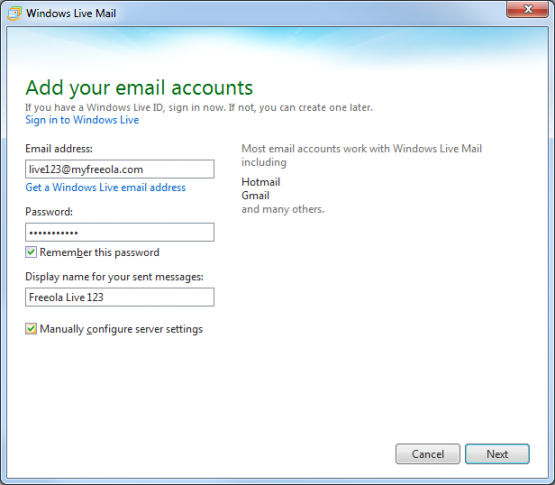 Window Live Mail Enter Email Address and Password
