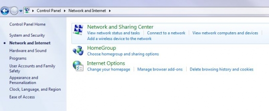 Win7 Network and Internet