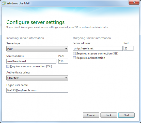 Window Live Mail Enter Server Settings