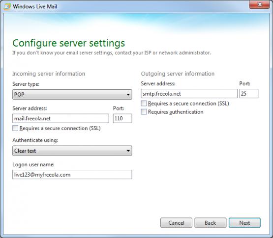 Window Live Mail Enter Server Settings