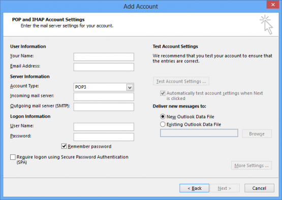 Microsoft Office Outlook 2013 Manual Account Settings