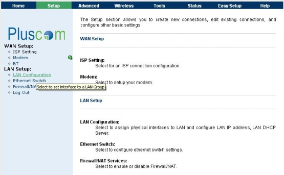 Pluscom LAN Configuration