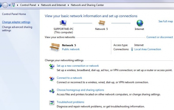 Win7 Network and Sharing Centre