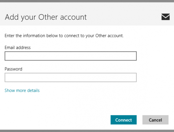 Windows 8 Mail Other Account Email Address and Password