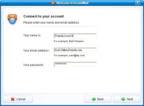 Incredimail 2 Email Address and Password