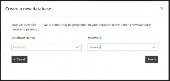 Create New Database in MyFreeola