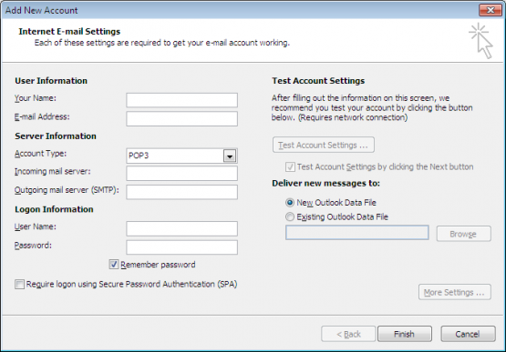 Microsoft Office Outlook 2010 Manual Account Settings