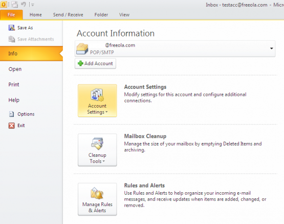 Microsoft Office Outlook File Info Menu