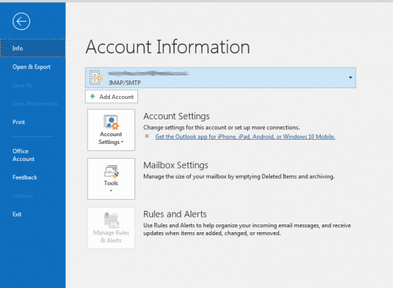 Outlook 2016 Account Info