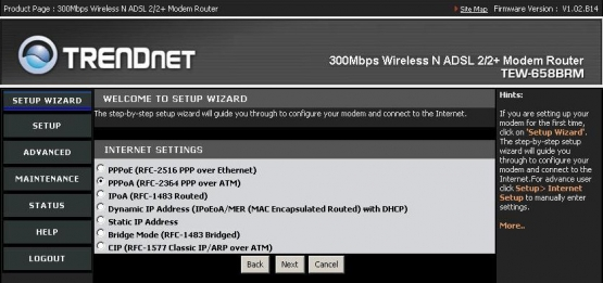Trendnet Internet Settings