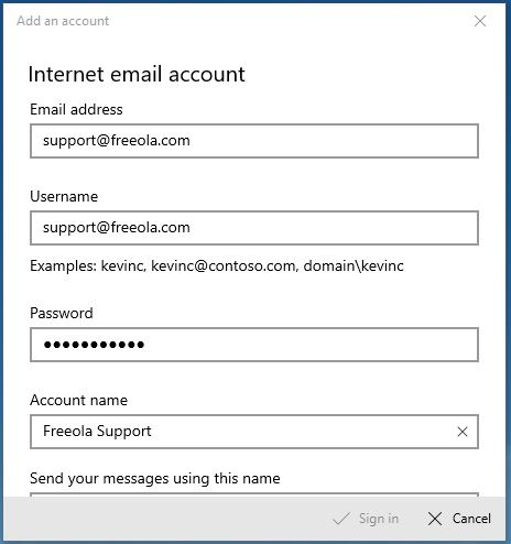 Internet Email Account Windows Mail
