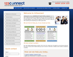 Screenshot of the 123Connect Ltd homepage