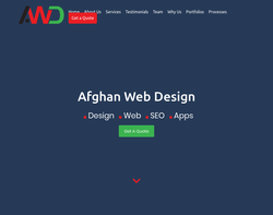 Screenshot of the Afghan Web Design homepage