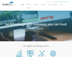 Screenshot of the Alba SEO Services homepage