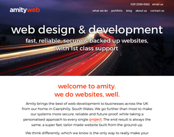 Screenshot of the Amity Web Solutions Ltd homepage