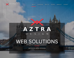 Screenshot of the Aztra Design homepage