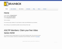 Screenshot of the Brainbox homepage