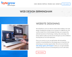Screenshot of the Web Design Agency Birmingham - Bytegrow IT Solutions homepage