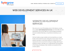 Screenshot of the Web Development Agency - Bytegrow IT Solutions homepage