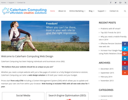 Screenshot of the Caterham Computing homepage